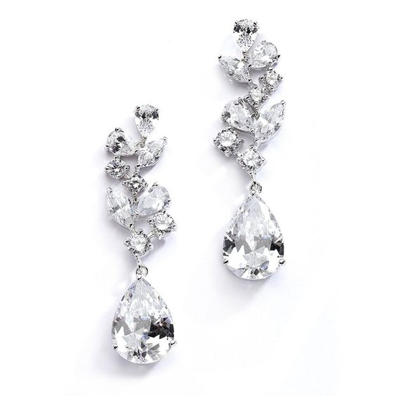 Mosaic Wedding Bridal CZ Earrings with Pear-Shaped Teardrops - Pageant & Mother of Bride Glam Too - CC123A54NDH - Shop, Earrings, Drop & Dangle #fashion #jewelry #Earrings #fashionwomen #style