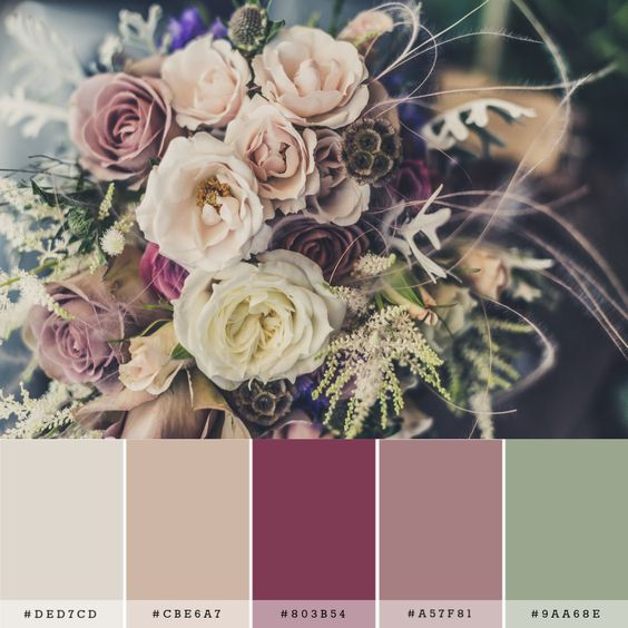 A color palette for a rustic romantic wedding. Set in shades of ivory, mauve, berry, and green.