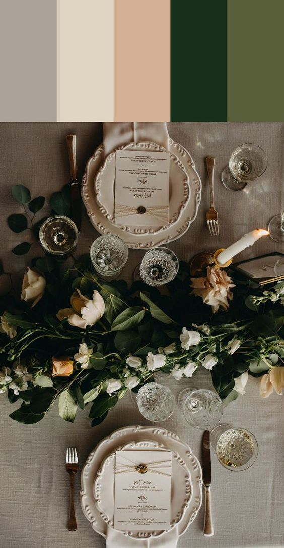 HARBOR GRAY, CHIFFON, IVORY, PINE, MOSS earthy color palette | Image by Melissa Alderton Photography