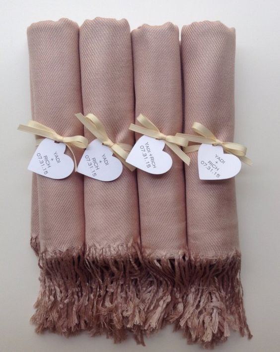 This Listing Includes (4) Nude Shawls with Ivory Ribbon and Heart Favor Tags *Please Include your Message for the Favor Tags upon check out The Shawls are 30% Silk and 70% Viscose The Shawls are 72 x 28 Large Orders Welcome   Please Convo Me! You can see our Entire Shop Here:
