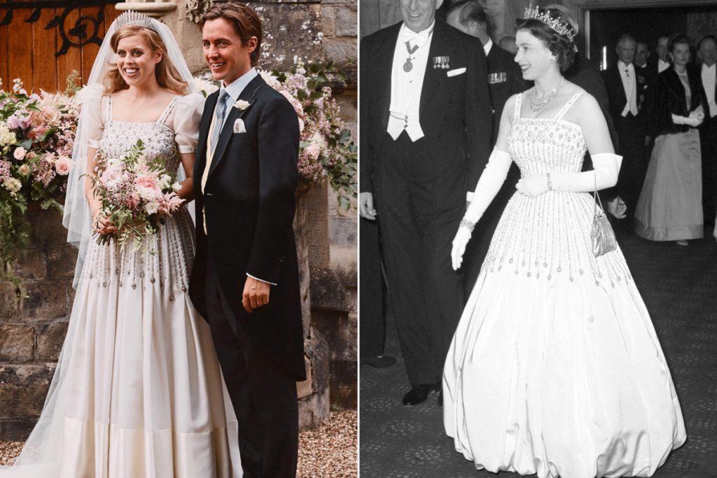 La principessa Beatrice indossava l'abito e la tiara della regina ...